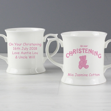 Personalised Teddy Pink Christening Loving Mug