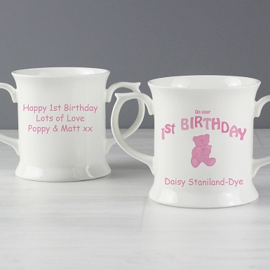 Personalised Teddy Pink 1st Birthday Loving Mug