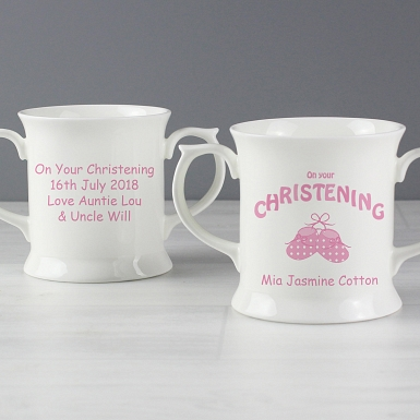 Personalised Bootee Pink Christening Loving Mug