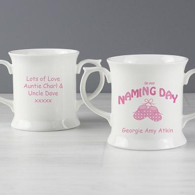 Personalised Bootee Pink Naming Day Loving Mug
