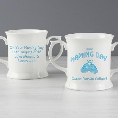Personalised Bootee Blue Naming Day Loving Mug