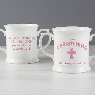 Personalised Cross Christening Loving Mug