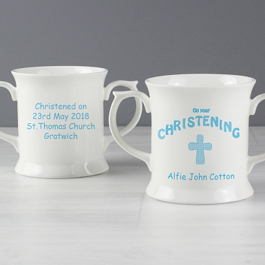 Personalised Cross Blue Christening Loving Mug