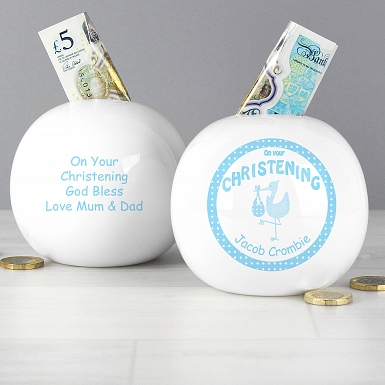 Personalised Stork Blue Christening Money Box