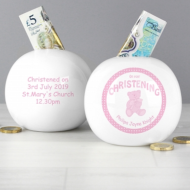 Personalised Teddy Pink Christening  Money Box