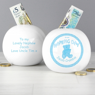 Personalised Teddy Blue Naming Money Box