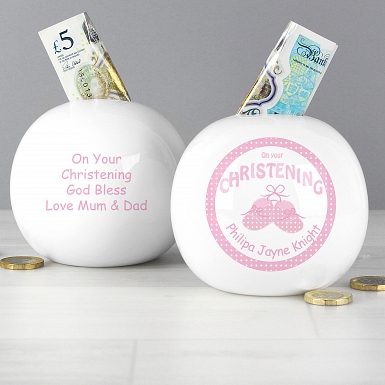 Personalised Bootee Pink Christening Money Box