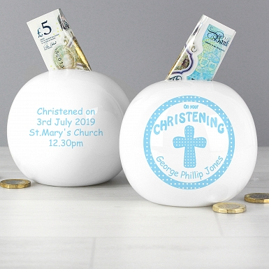 Personalised Cross Blue Christening Money Box