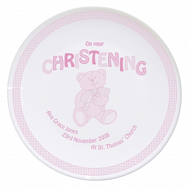 Personalised Teddy Pink Christening Plate