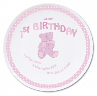Personalised Teddy Pink 1st Birthday Plate