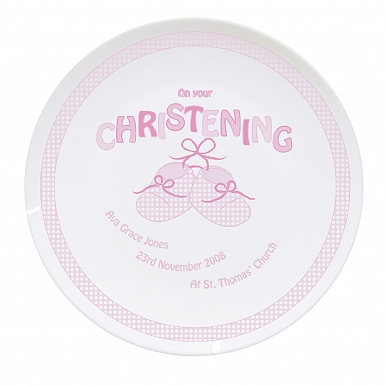 Personalised Bootee Pink Christening Plate