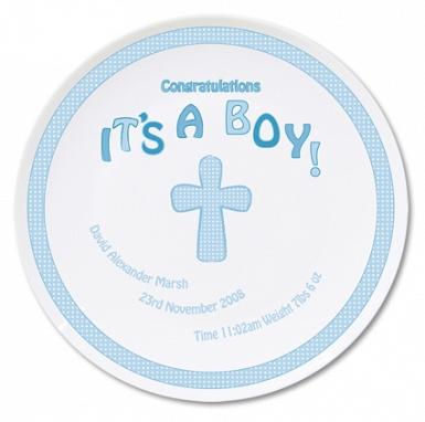 Personalised Cross It's a Boy Plate