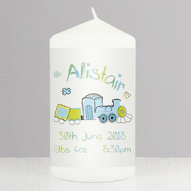 Personalised Patchwork Train Candle