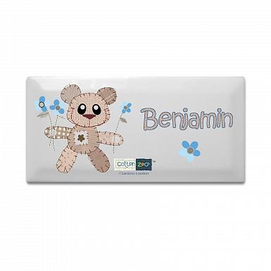 Personalised Cotton Zoo Tweed the Bear Boys Door Plaque