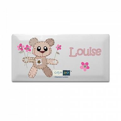 Personalised Cotton Zoo Tweed the Bear Girls Door Plaque