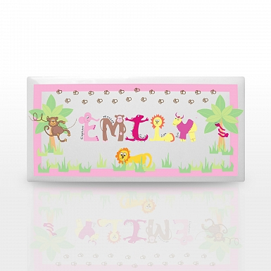 Personalised Animal Alphabet Girls Door Plaque