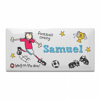 Personalised Bang on the Door Football Crazy Door Tile