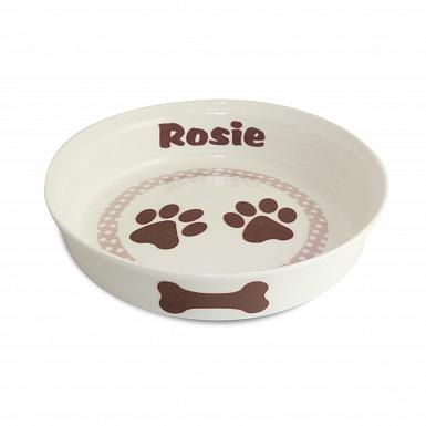 Personalised Brown Paws Dog Bowl