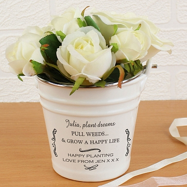 Personalised Antique Scroll Porcelain Bucket