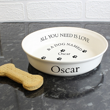 Personalised All You Need Is Love White Dog Bowl