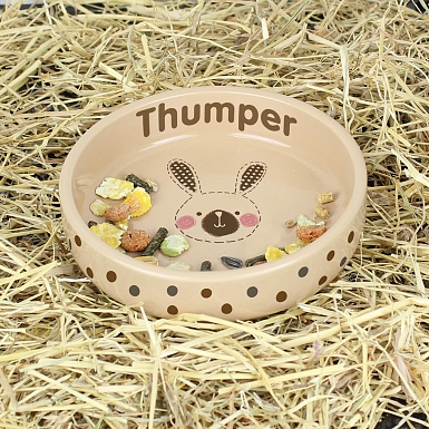 Personalised Rabbit Stitch Small Brown Rabbit Bowl