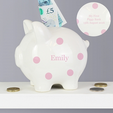 Personalised Pink Polka Dot Piggy Bank