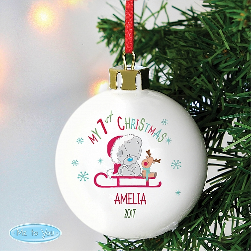 Personalised Tiny Tatty Teddy Christmas Bauble