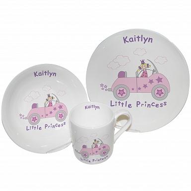 Personalised Little Princess in Car Breakfast Set