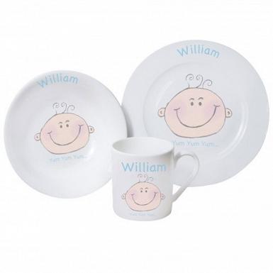 Personalised Baby Boy Breakfast Set