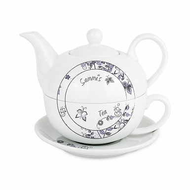 Personalised Flower Pattern Tea For One