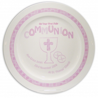 Personalised Pink First Holy Communion Plate