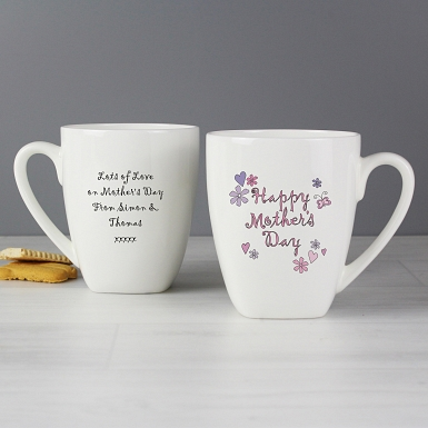 Personalised Flowers and Butterflies Happy Mother's Day Latte Mug