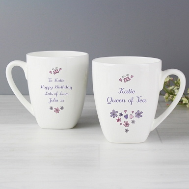 Personalised Flowers and Butterflies Latte Mug