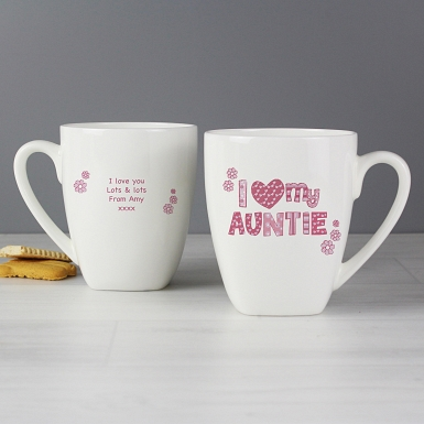 Personalised Pink Patterns I Love Latte Mug