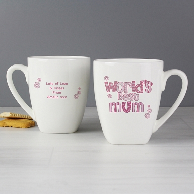 Personalised Pink Patterns Worlds Best Latte Mug