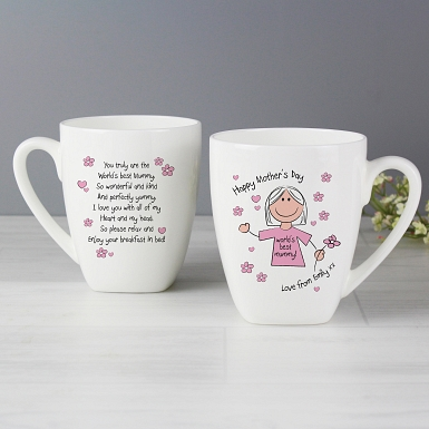 Personalised Worlds Best Mum T-Shirt Latte Mug