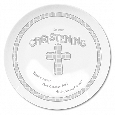 Personalised Grey Christening Plate