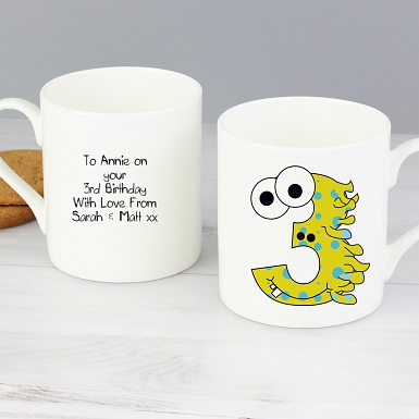 Personalised Monster Age Balmoral Mug - Age 3