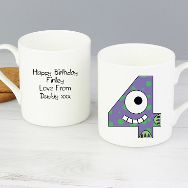 Personalised Monster Age Balmoral Mug - Age 4