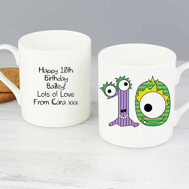Personalised Monster Age Balmoral Mug - Age 10