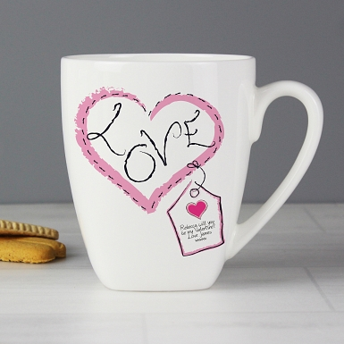 Personalised Heart Stitch Love Latte Mug