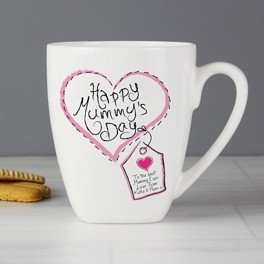 Personalised Heart Stitch Happy Mummys Day Latte Mug