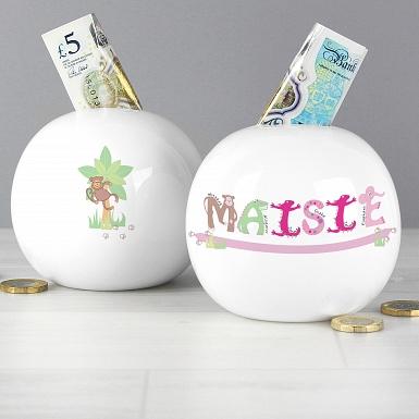 Personalised Pink Animal Money Box
