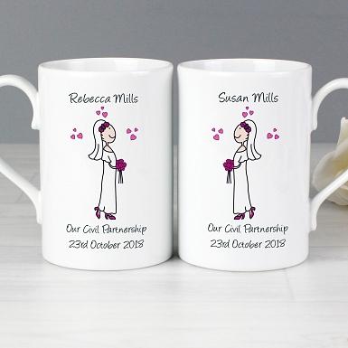 Personalised Female Wedding Mug Set