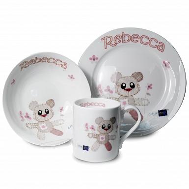 Personalised Cotton Zoo Breakfast Set - Tweed Girl