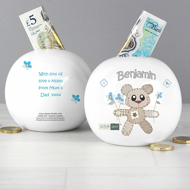 Personalised Cotton Zoo Tweed the Bear Boy Money Box