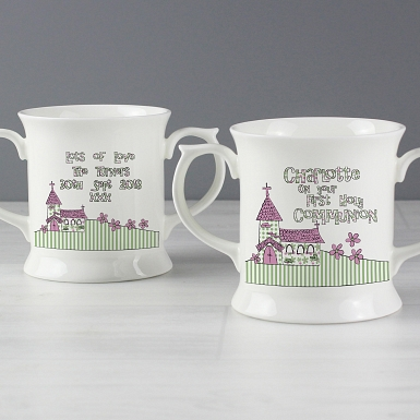 Personalised Whimsical Church Pink 1st Holy Communion Loving Mug