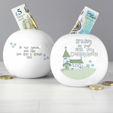 Personalised Whimsical Church Blue 1st Holy Communion Money Box
