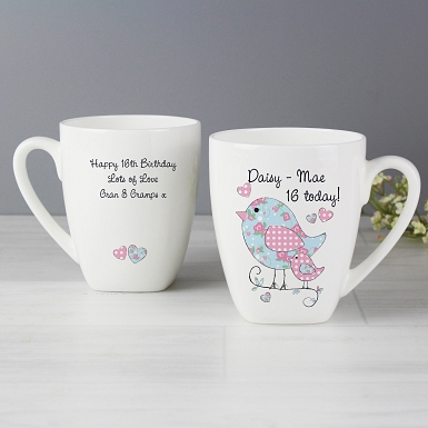 Personalised Floral Birds Latte Mug