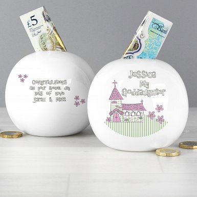 Personalised Whimsical Church Goddaughter Money Box